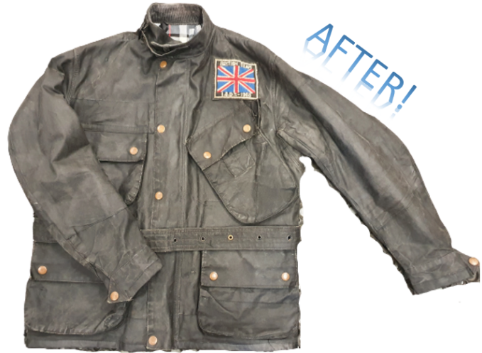 The same ISDT jacket pictured above, only AFTER being sent to Wax Jackets Cleaned, where we communicate with our customers!