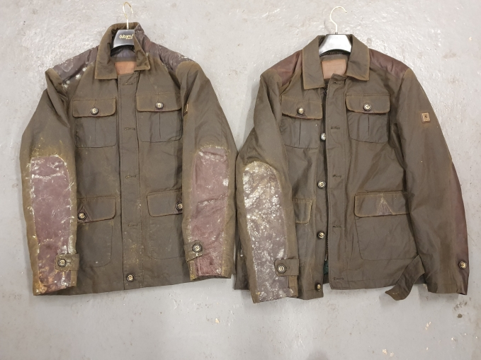 Some really dirty wax jackets that we can clean.